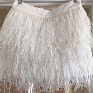 Club Monaco Ivory Feather Mini Skirt